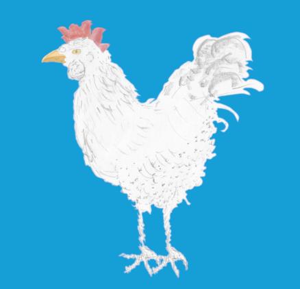 Ein skizziertes Bild eines Huhnes